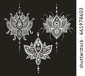 hand drawn vector lotus flower... | Shutterstock .eps vector #661978603