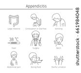 appendicitis symptoms icons set ... | Shutterstock .eps vector #661984048