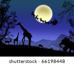 Santa Claus in Africa - silhouettes of wild animals and flying Santa, vector background - stock vector