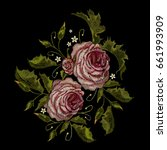 roses embroidery. classical... | Shutterstock .eps vector #661993909