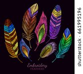 color feathers embroidery... | Shutterstock .eps vector #661995196