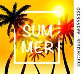 palms summer cover frame banner ... | Shutterstock .eps vector #661998130