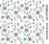 summer pattern with rowan  blue ... | Shutterstock . vector #661998883