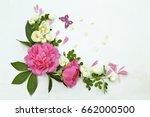 peony  roses flowers on white... | Shutterstock . vector #662000500