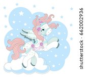 cute unicorn on a rainbow on a... | Shutterstock .eps vector #662002936