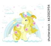 cute unicorn on a rainbow on a...   Shutterstock .eps vector #662002954