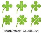 four leaf clover  a set of... | Shutterstock .eps vector #662003854