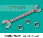 wrench  on a green background.  ... | Shutterstock .eps vector #662011060