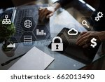 data protection  cyber security ... | Shutterstock . vector #662013490