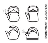 Teapot icon. Set of vector kettle icons in line design style.