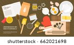 bakery ingredient and utensils... | Shutterstock .eps vector #662021698