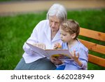 young boy and great grandmother ... | Shutterstock . vector #662028949