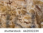 cave paintings of primitive man.... | Shutterstock . vector #662032234