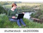 beautiful girl using her...   Shutterstock . vector #662033086