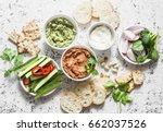 Vegetarian Dip Table. Eggplant...
