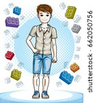 young teen boy cute children... | Shutterstock .eps vector #662050756