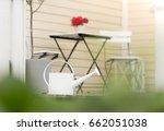 garden chairs  table  flower... | Shutterstock . vector #662051038