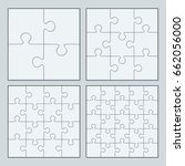 white puzzles 4  9  16 and 25... | Shutterstock . vector #662056000