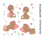 cute set  newborn african... | Shutterstock .eps vector #662060146