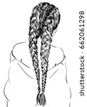 gorgeous braided hairstyle for... | Shutterstock .eps vector #662061298