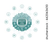 smart city with advanced smart... | Shutterstock .eps vector #662063650
