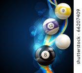 vector pool balls on blue... | Shutterstock .eps vector #66207409