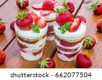 cake with strawberry and mint...   Shutterstock . vector #662077504