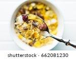 tasty homemade muesli with nuts ... | Shutterstock . vector #662081230