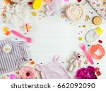 baby shower party background ... | Shutterstock . vector #662092090