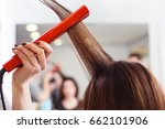 stylist align the customer's... | Shutterstock . vector #662101906