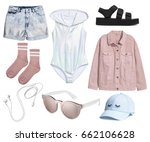 set of stylish clothes ... | Shutterstock . vector #662106628