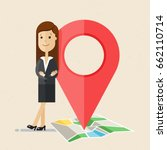 business woman with map pointer.... | Shutterstock .eps vector #662110714