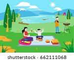family of four spending a... | Shutterstock .eps vector #662111068