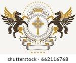 luxury heraldic vector emblem... | Shutterstock .eps vector #662116768