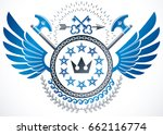 winged classy emblem  vector... | Shutterstock .eps vector #662116774