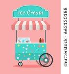 vector ice cream cart . side... | Shutterstock .eps vector #662120188
