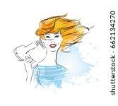 close up beautiful woman drying ... | Shutterstock .eps vector #662134270