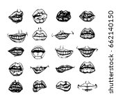 set of mouth smile sexy woman... | Shutterstock .eps vector #662140150