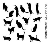 Stock vector set vector silhouette of the cat different poses sits and lies black color isolated on white 662144470