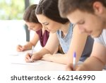 close up of three concentrated...   Shutterstock . vector #662146990