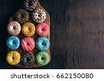 Glazed Mini Donuts On Wooden...