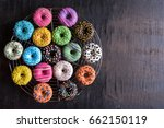 Glazed Sweet Mini Donuts On...