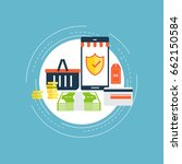 secure online shopping flat... | Shutterstock .eps vector #662150584
