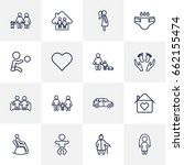 set of 16 people outline icons... | Shutterstock .eps vector #662155474
