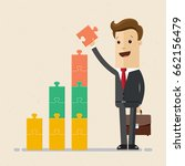 businessman builds a tower of... | Shutterstock .eps vector #662156479