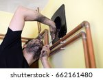 chimney sweep cleaning. chimney ... | Shutterstock . vector #662161480