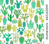 vector cactus plant seamless... | Shutterstock .eps vector #662162044