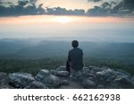 people on a rock and the... | Shutterstock . vector #662162938