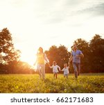 young cheerful family together... | Shutterstock . vector #662171683
