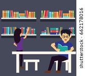 man and woman in a library ... | Shutterstock .eps vector #662178016